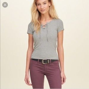 Hollister Ribbed lace up knit top